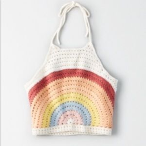 Crochet Rainbow Halter Top AE